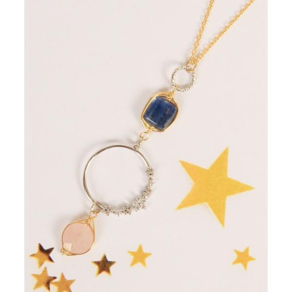 【ワイスチャーム】【ゴールド×シルバー】K14GF 花リングピンク×ブルーネックレス