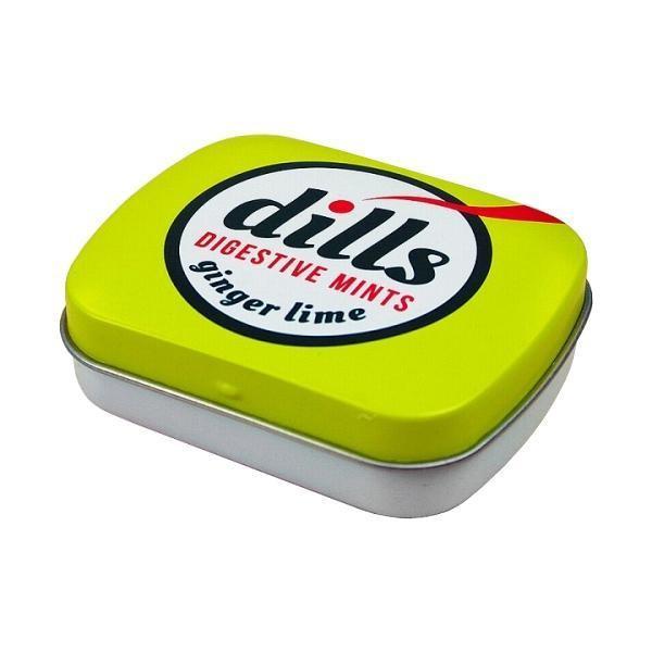 送料無料 dills(ディルズ) ハーブミントタブレット ジンジャーライム 缶入り 15g×12個   眠気覚まし キャンディー 海外 代引き不可/同梱不可