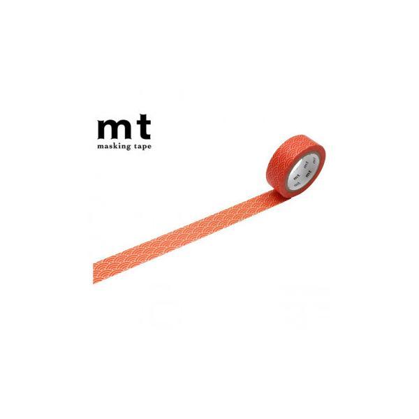 マスキングテープ mt 8P 青海波文・赤橙 幅15mm×7m 同色8巻パック MT08D475