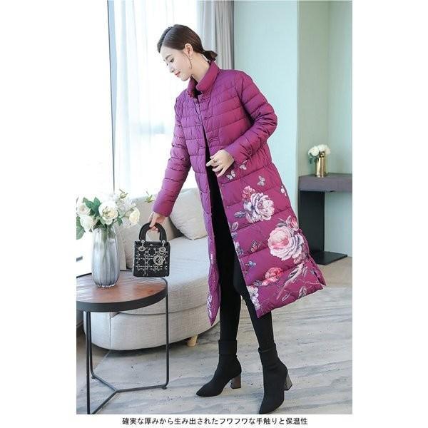 中綿コート レディース ロングコート 防寒 コート 花柄 女性用 中綿 アウター 厚手 エスニック柄 チャイナボタン レトロ スッキリ