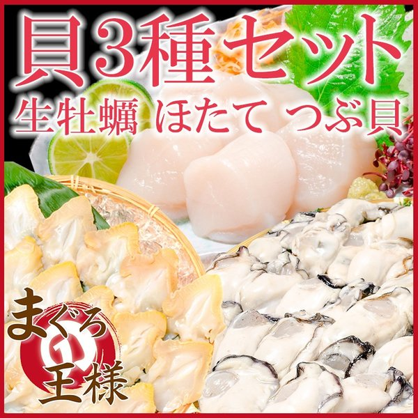 貝3種セット 生牡蠣 1kg ホタテ 1kg つぶ貝開き 500g お刺身用 生食用 むき身