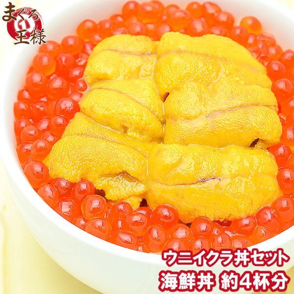 築地市場のウニイクラ丼セット(4杯分 無添加生ウニ200g&いくら醤油漬け200g)海鮮丼で約4杯分