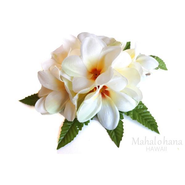 フラ ヘアクリップ アロハ プルメリア (白 ホワイト) リーフセット 14cm 本格 ハワイアン|mahalohana