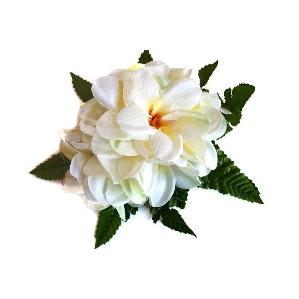 フラ ヘアクリップ アロハ プルメリア (白 ホワイト) リーフセット 14cm 本格 ハワイアン|mahalohana|05