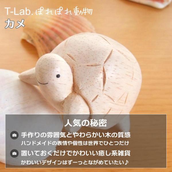 ぽれぽれ動物雑貨 (カメ かめ 亀) 手作り木彫り置物 ハンドメイド|mahalohana|02