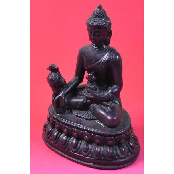 インドのレジン製仏像 薬師如来 樹脂 神像 アジアン雑貨 エスニック DO-ST80