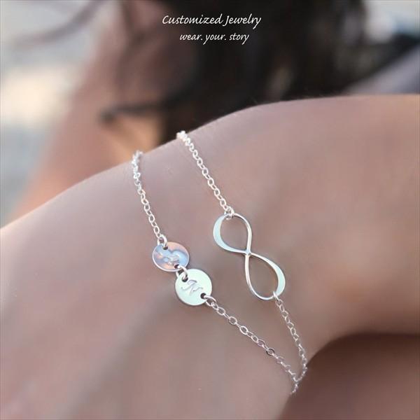 インフィニティ ダブル イニシャル シルバー ラップ ブレスレット [Initial Jewelry / イニシャル ジュエリー] 海外受注