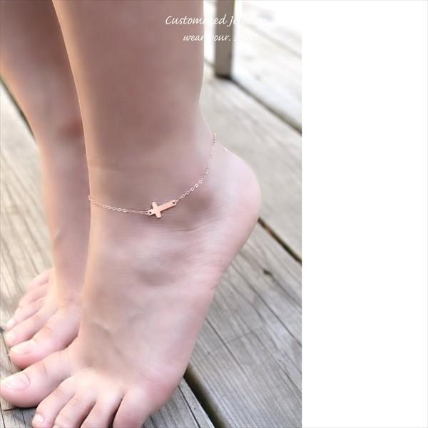 クロス(十字架)イニシャル ローズゴールド アンクレット [Customized Jewelry / カスタマイズ ジュエリー] 海外受注