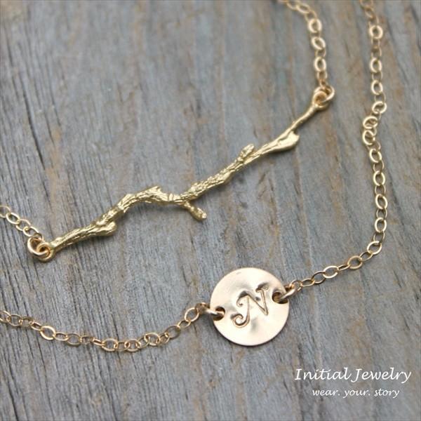 トゥィッグブランチ ゴールド レイヤード アンクレット [ Initial Jewelry / イニシャル ジュエリー] 海外受注