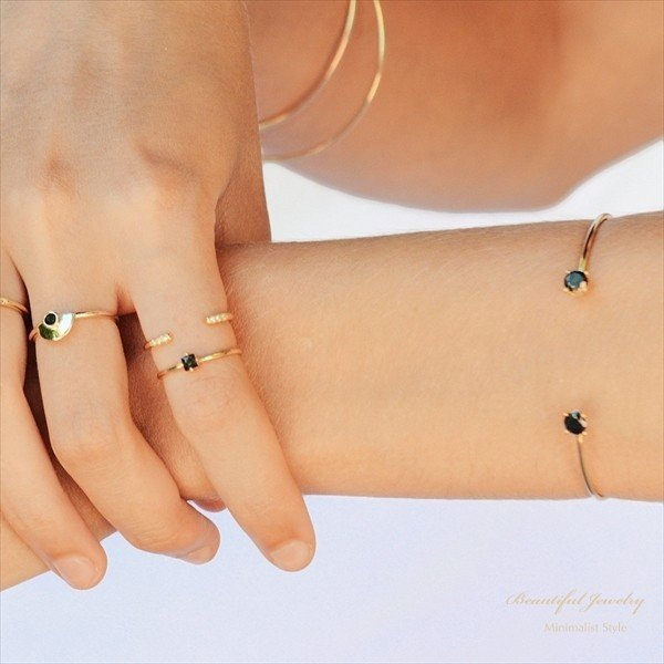きらきら ブラックCZ ダブル カフ バングル 18KGV / S925 [Beautiful Jewelry by MJ] 海外受注