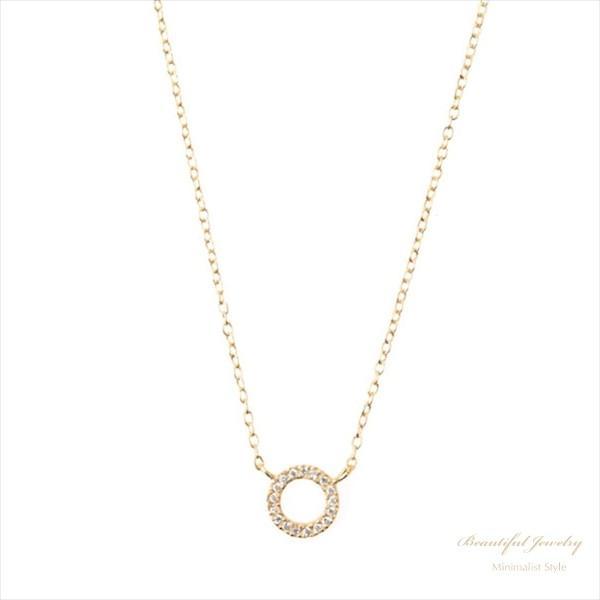 きらきらCZ フルムーン サークル ネックレス 18KGV / S925 [Beautiful Jewelry by MJ] 海外受注