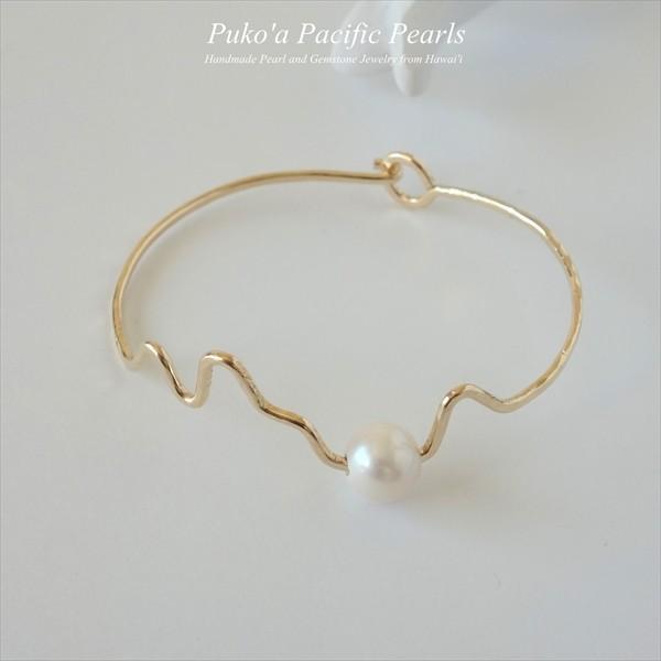 モクルア ホワイト パール バングル ゴールド / シルバー [ Pukoa Pacific Pearls / ハワイ ] [海外受注]