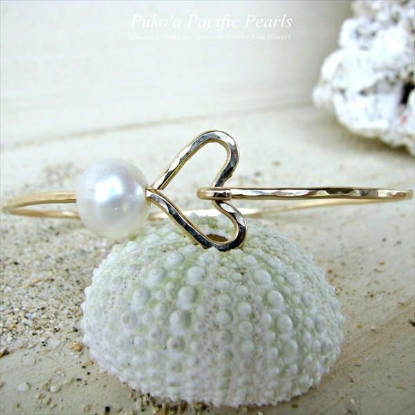ホワイト パール ハート バングル ゴールド [ Pukoa Pacific Pearls / ハワイ ] [海外受注]