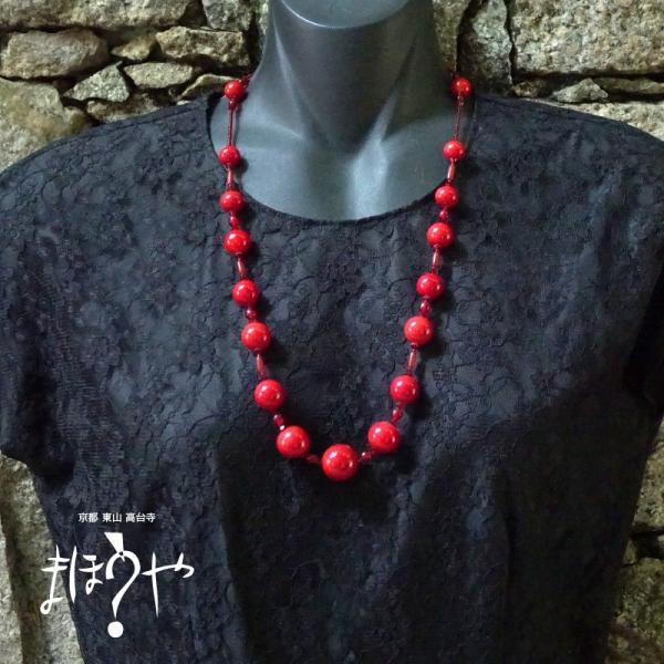 【世界で一つ手作りトンボ玉ネックレス】丸玉ネックレス 赤無地 16-1093/1点もの[在庫あり]|mahouya