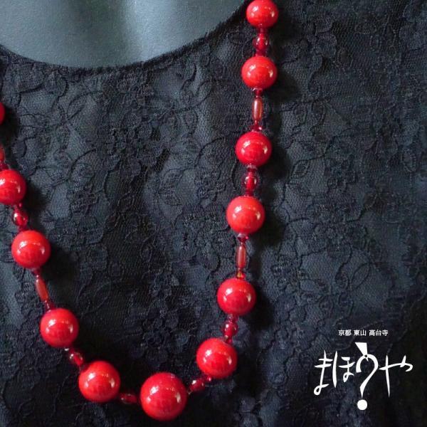 【世界で一つ手作りトンボ玉ネックレス】丸玉ネックレス 赤無地 16-1093/1点もの[在庫あり]|mahouya|02