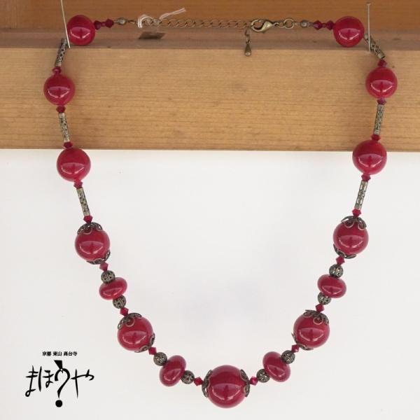 【世界で一つ手作りトンボ玉ネックレス】丸玉ネックレス 赤無地 17-1187/1点もの[在庫あり]|mahouya