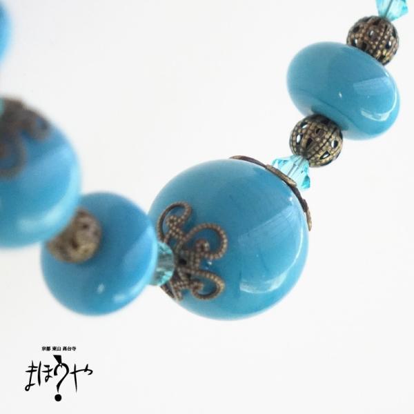 【世界で一つ手作りトンボ玉ネックレス】丸玉ネックレス 青緑無地 17-1236/1点もの[在庫あり]|mahouya|02