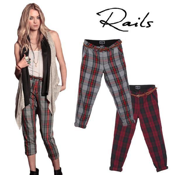 レイルズ クロップドパンツ パンツ レディース チェック 赤 きれいめ Rails Riley Pants