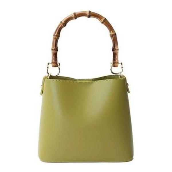 送料無料 持ち手がポイント パカッと開く出し入れ便利なハンドバッグ/グリーン
