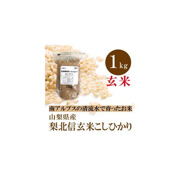 山梨県産  梨北信玄米 コシヒカリ 玄米 1kg 通販  1キロ お試しサイズ 特別栽培米 基準の50%以下 減農薬 減化学肥料 人と環境にやさしいお米