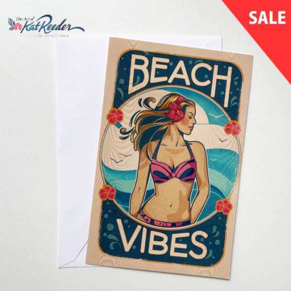 【SALE】カットリーダー グリーティングカード「Beach Vibes」【kat reeder /ハワイ/ハワイアン/フラ/フラダンス/アート/雑貨/ポストカード/絵】