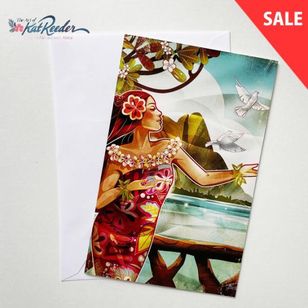 【SALE】カットリーダー グリーティングカード「Makana Breeze」【kat reeder /ハワイ/ハワイアン/フラ/フラダンス/アート/雑貨/ポストカード/絵】