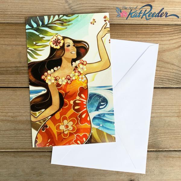 【SALE】カットリーダー グリーティングカード「Ocean Breeze」【kat reeder /ハワイ/ハワイアン/フラ/フラダンス/アート/雑貨/ポストカード/絵】