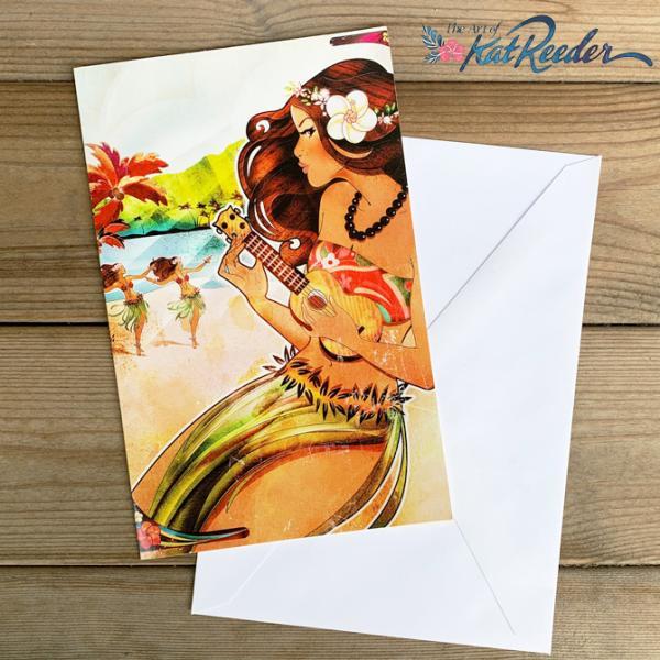 【SALE】カットリーダー グリーティングカード「Island Sunrise」【kat reeder /ハワイ/ハワイアン/フラ/フラダンス/アート/雑貨/ポストカード/絵】