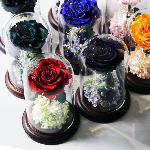 プリザーブドフラワー クリスマス 花 プレゼント プロポーズ ガラスドーム 薔薇 Princess Fleur|makefuture|02