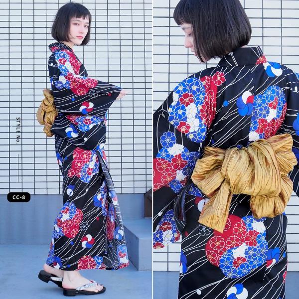 浴衣 セット 2点 レディース ゆかた 大人 大きいサイズ 小さいサイズ Sサイズ フリーサイズ TL WL ぽっちゃり ワイド|makoto1007|13