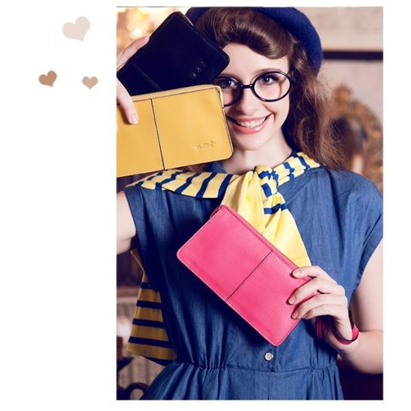 2fa7ea457776 財布 レディース 長財布 ウォレット 革 レザー 人気 女性用 ストラップ付 赤 黄色 ...