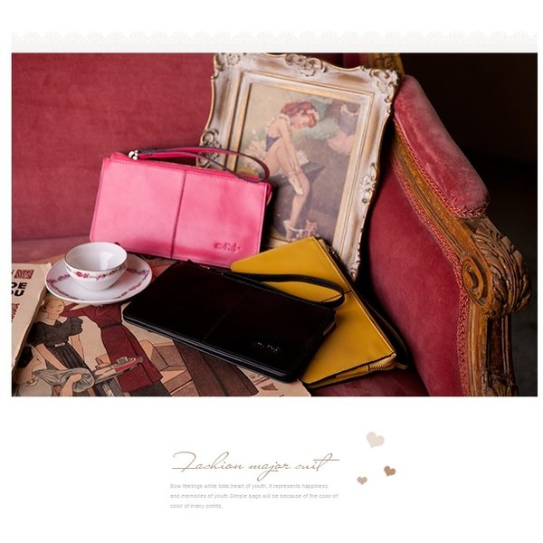 98996e061a88 ... 黒 財布 レディース 長財布 ウォレット 革 レザー 人気 女性用 ストラップ付 赤 黄色 ...