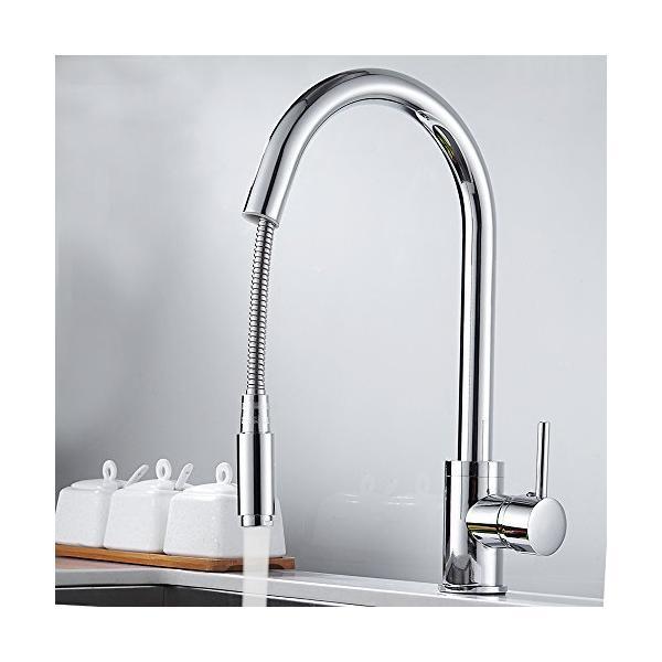 Powanfity_JPキッチン蛇口混合栓シャワーキッチン用水栓ハンドシャワーシングルレバー360°回転スイベルス?