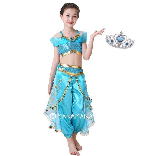 ディズニー プリンセス ドレス キッズ ジャスミン アラジン 子供 子ども コスプレ なりきり 衣装 子供 仮装 コスチューム お姫様  リゾート 女児 女の子  誕生日|mana2