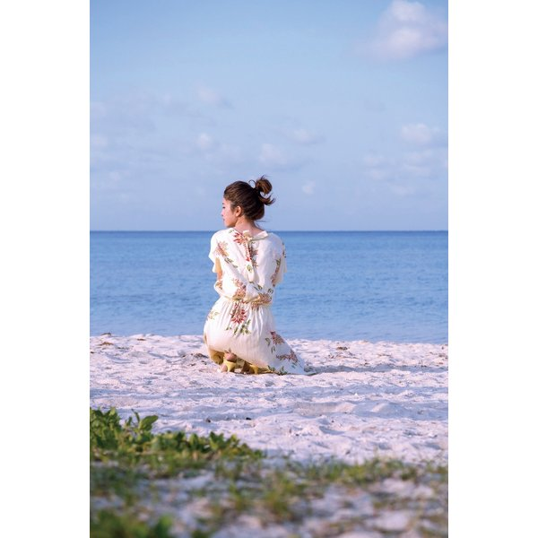 かりゆしワンピース(バックリボン)日本製 (リゾートウェディング・かりゆし結婚式) mangoplus 08