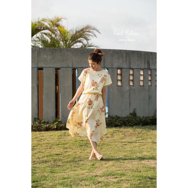 かりゆしワンピース(バックリボン)日本製 (リゾートウェディング・かりゆし結婚式) mangoplus 09