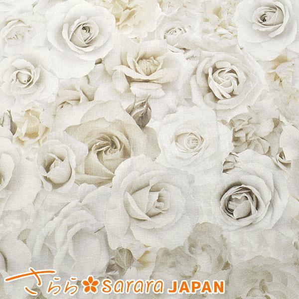 [AW] さらら 清らかなリアルローズ2 cホワイト 10cm  DPJ-098-A  シーチング生地|manmakasan