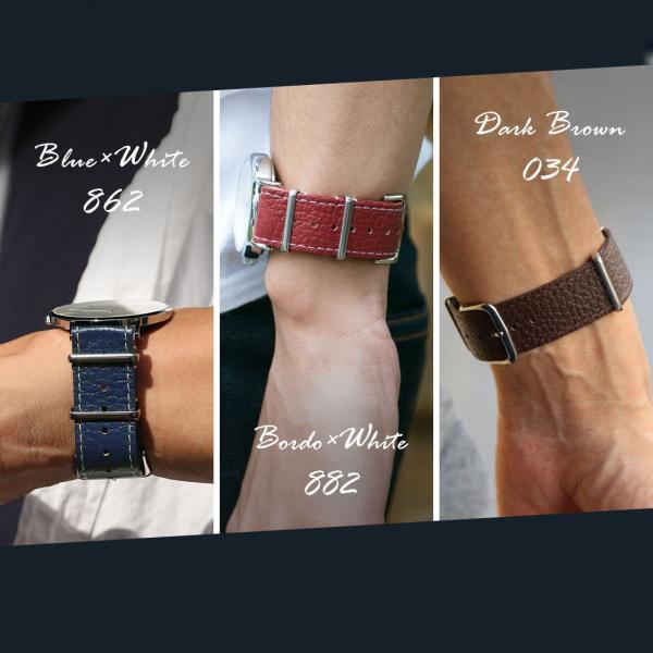 腕時計ベルト バンド 交換 牛革 22mm 20mm 18mm CASSIS TYPE NATO LEATHER 189601S|mano-a-mano|08
