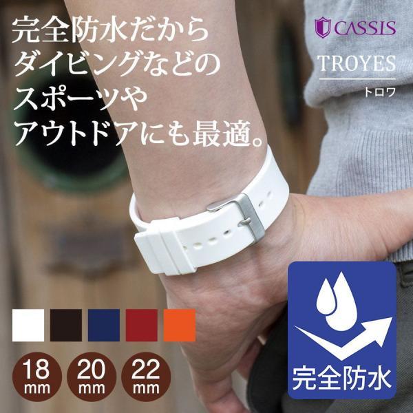 腕時計ベルト バンド 交換 シリコン メンズ 22mm 20mm 18mm CASSIS TROYES U0100465|mano-a-mano