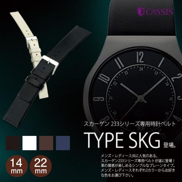 腕時計ベルト バンド 交換 牛革 スカーゲン用 メンズ 22mm CASSIS TYPE SKG U1002305