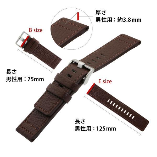 腕時計ベルト バンド 交換 牛革 メンズ 大型 DIESEL 用 24mm CASSIS ROTA U1006226|mano-a-mano|03