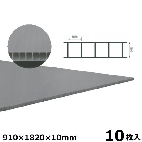 宇部エクシモ 養生ダンプレート 910×1820×10mm グレー 10枚入 プラベニヤ プラダン 養生ボード材
