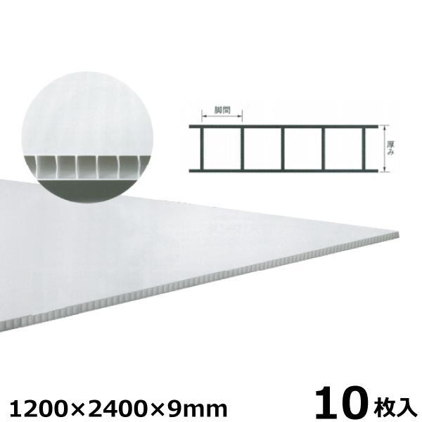 宇部エクシモ 養生ダンプレート 1200×2400×9mm ナチュラル 10枚入 プラベニヤ プラダン 養生ボード材