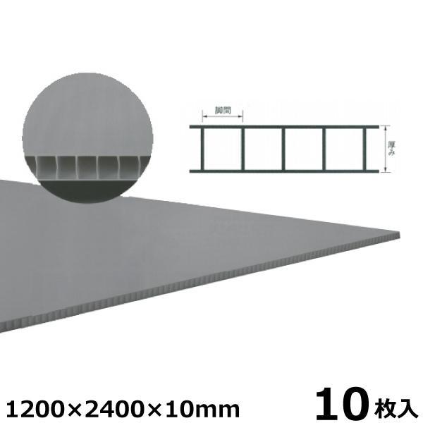 宇部エクシモ 養生ダンプレート 1200×2400×10mm グレー 10枚入 プラベニヤ プラダン 養生ボード材