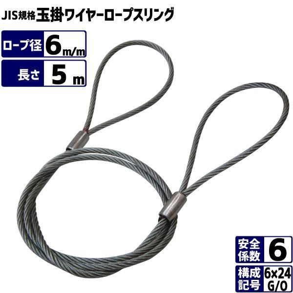JIS玉掛ワイヤーロープ 6×24G/O 径6m/m×長さ5m ワイヤースリング メッキ処理ワイヤー ロック止めワイヤーロープ