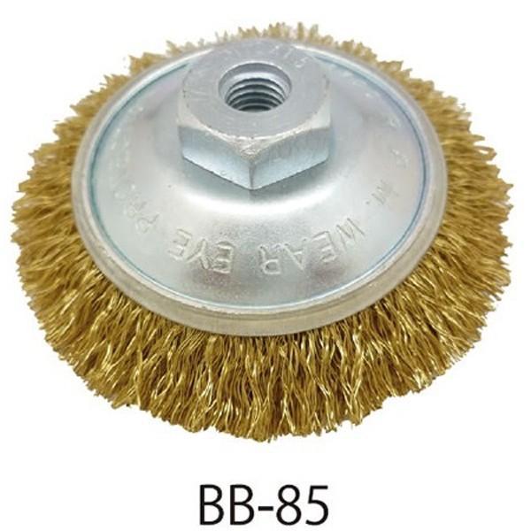 ワイヤーブラシ ベベル (ネジ付) ワイヤーブラシベベル型 錆びとりブラシ サビ落としブラシ