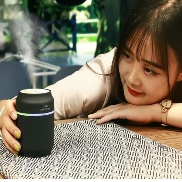 ミニ 加湿器 USB式卓上加湿器 LEDライト & USBファン付き USB給電 空焚き防止 缶型加湿器 間接照明 空気清浄 静音 大容量