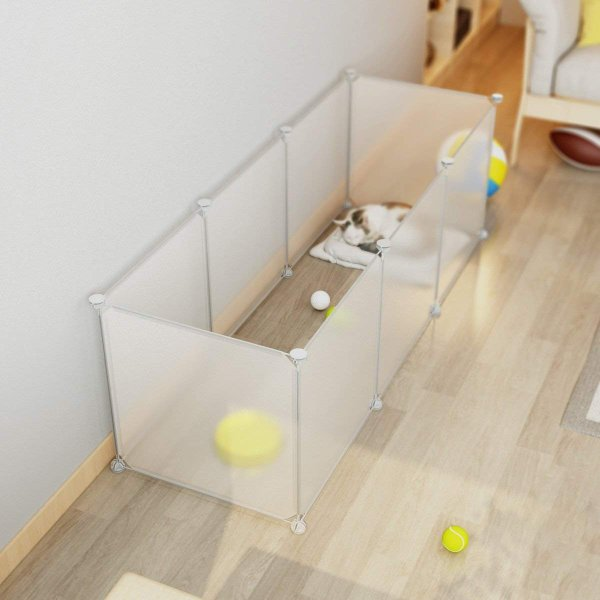LANGRIA ペットフェンス ペットサークル ペット用ハイゲート 脱走防止柵 簡易フェンス 猫犬用 組立て式 設置簡単 継ぎ足し可能 エコ|mapletreehouse|04