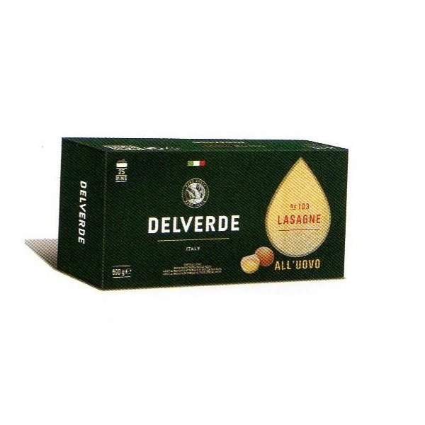 イタリア産 最高級デルヴェルデ(Delverde)N.103 ラザニア(ラザーニャ)卵入り   平パスタ 500g×16パック