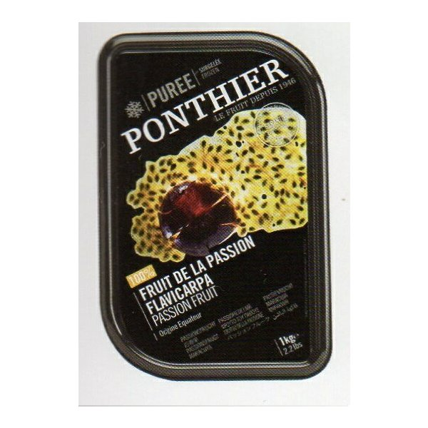 冷凍 フランス産 高級パッションフルーツのピューレ 1kg(無糖) ポンティエ社 人工着色料、香料不使用